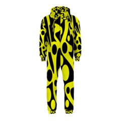 Black and Yellow abstract desing Hooded Jumpsuit (Kids)