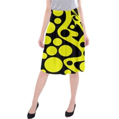 Black And Yellow Abstract Desing Midi Beach Skirt