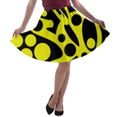 Black and Yellow abstract desing A-line Skater Skirt