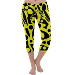 Black and Yellow abstract desing Capri Yoga Leggings
