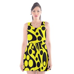 Black And Yellow Abstract Desing Scoop Neck Skater Dress