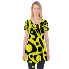 Black And Yellow Abstract Desing Short Sleeve Tunic