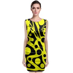 Black And Yellow Abstract Desing Classic Sleeveless Midi Dress