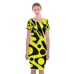 Black And Yellow Abstract Desing Classic Short Sleeve Midi Dress