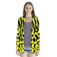 Black and Yellow abstract desing Drape Collar Cardigan