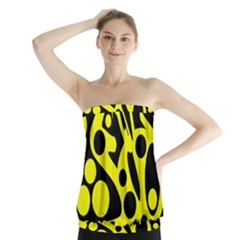 Black and Yellow abstract desing Strapless Top
