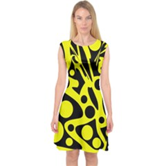 Black and Yellow abstract desing Capsleeve Midi Dress