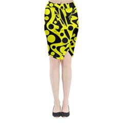 Black and Yellow abstract desing Midi Wrap Pencil Skirt