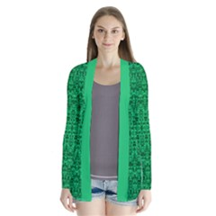 Green Ikat Print Abstract Damask Drape Collar Cardigan