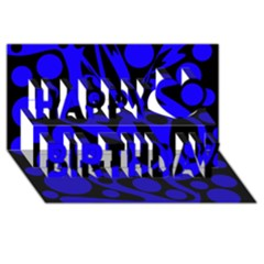 Blue and black abstract decor Happy Birthday 3D Greeting Card (8x4)