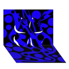 Blue and black abstract decor Clover 3D Greeting Card (7x5)