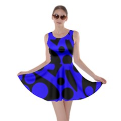 Blue and black abstract decor Skater Dress