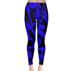 Blue and black abstract decor Leggings