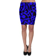Blue and black abstract decor Bodycon Skirt