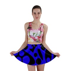Blue and black abstract decor Mini Skirt