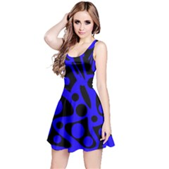 Blue and black abstract decor Reversible Sleeveless Dress