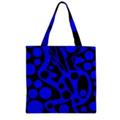 Blue and black abstract decor Zipper Grocery Tote Bag