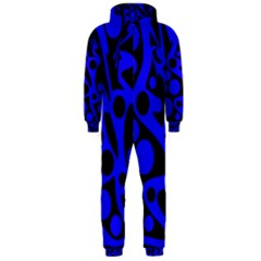 Blue and black abstract decor Hooded Jumpsuit (Men)