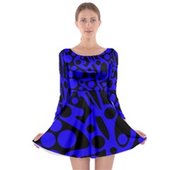 Blue and black abstract decor Long Sleeve Skater Dress