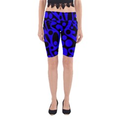 Blue And Black Abstract Decor Yoga Cropped Leggings