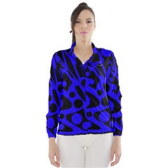 Blue and black abstract decor Wind Breaker (Women)