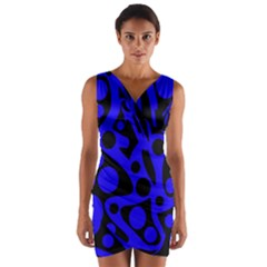 Blue and black abstract decor Wrap Front Bodycon Dress