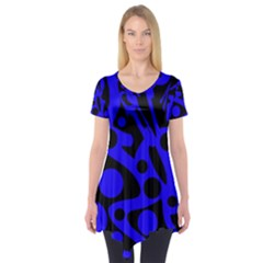 Blue and black abstract decor Short Sleeve Tunic