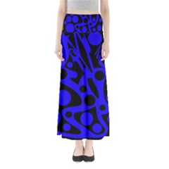 Blue And Black Abstract Decor Maxi Skirts