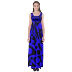 Blue and black abstract decor Empire Waist Maxi Dress