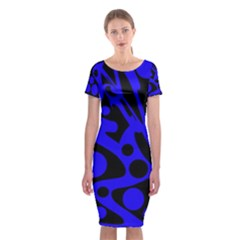Blue and black abstract decor Classic Short Sleeve Midi Dress