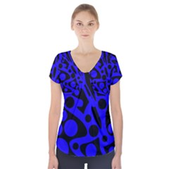 Blue and black abstract decor Short Sleeve Front Detail Top