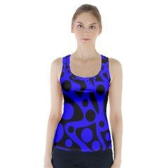 Blue and black abstract decor Racer Back Sports Top