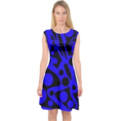 Blue And Black Abstract Decor Capsleeve Midi Dress