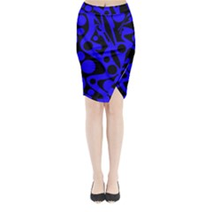Blue and black abstract decor Midi Wrap Pencil Skirt