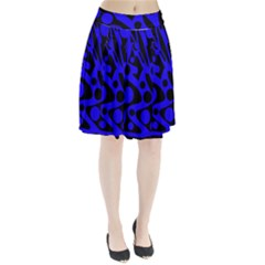 Blue And Black Abstract Decor Pleated Skirt