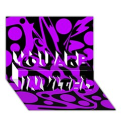 Purple and black abstract decor YOU ARE INVITED 3D Greeting Card (7x5)