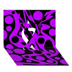 Purple and black abstract decor Ribbon 3D Greeting Card (7x5)