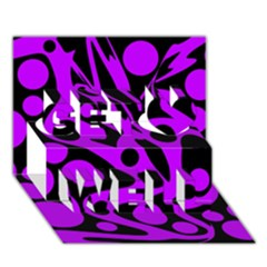 Purple and black abstract decor Get Well 3D Greeting Card (7x5)
