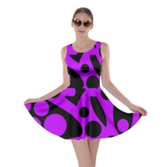 Purple and black abstract decor Skater Dress