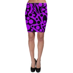 Purple and black abstract decor Bodycon Skirt