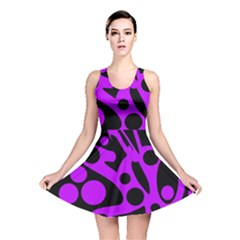 Purple and black abstract decor Reversible Skater Dress