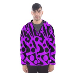 Purple and black abstract decor Hooded Wind Breaker (Men)