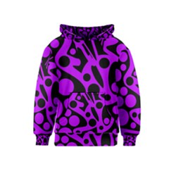 Purple and black abstract decor Kids  Pullover Hoodie