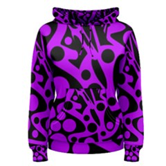 Purple and black abstract decor Women s Pullover Hoodie