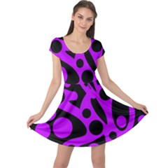 Purple and black abstract decor Cap Sleeve Dresses