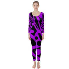 Purple and black abstract decor Long Sleeve Catsuit