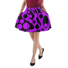 Purple and black abstract decor A-Line Pocket Skirt