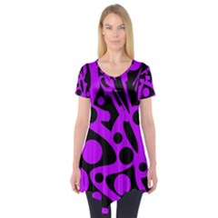 Purple and black abstract decor Short Sleeve Tunic