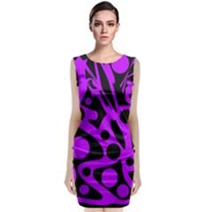 Purple And Black Abstract Decor Classic Sleeveless Midi Dress