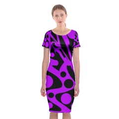 Purple and black abstract decor Classic Short Sleeve Midi Dress